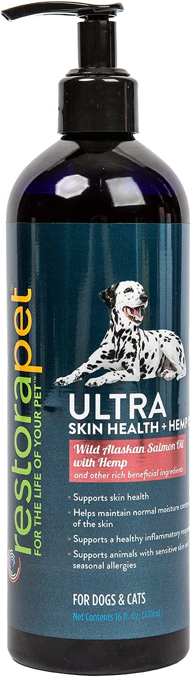 RestoraPet Skin Health Ultra with Hemp & Wild Alaskan Salmon Oil - Liquid Food Supplement for Pet Cats & Dogs - Supports Shiny Coat & Seasonal Allergy Relief, Enriched with Omega 3 - 16 fl. Oz Bottle