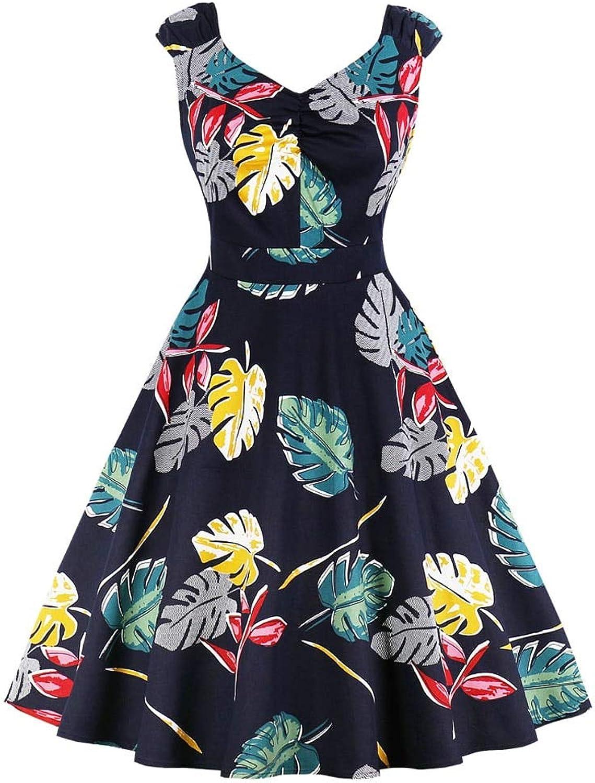 WDBXN Polka Dots Women Vintage Dress Summer Cotton Party Dress bluee V Neck Sleeveless Pin Up Dresses Tunic Plus Size