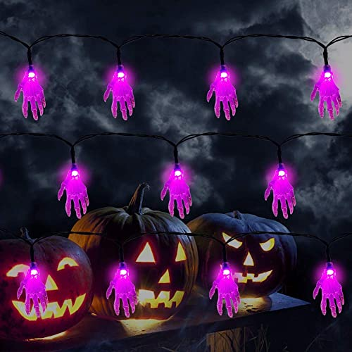 lowest Twinkle Star Halloween String Lights, 19.2ft 40LEDs Skeleton Hand Halloween online sale Decorative Purple Light, Battery Powered with 8 Lighting Mode Waterproof Spooky Light for Party Patio Indoor & 2021 Outdoor Use online