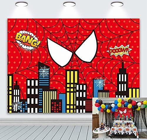 BINQOO 7x5ft Spider-Man Super City Telón de fondo Super Heros Red Spider Web Baby Shower Photo Background Niños Niños 1er cumpleaños