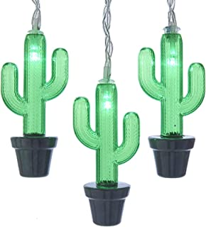 Kurt S. Adler Kurt Adler Battery-Operated 10 Cactus with Green LED Light Set, Black, Clear