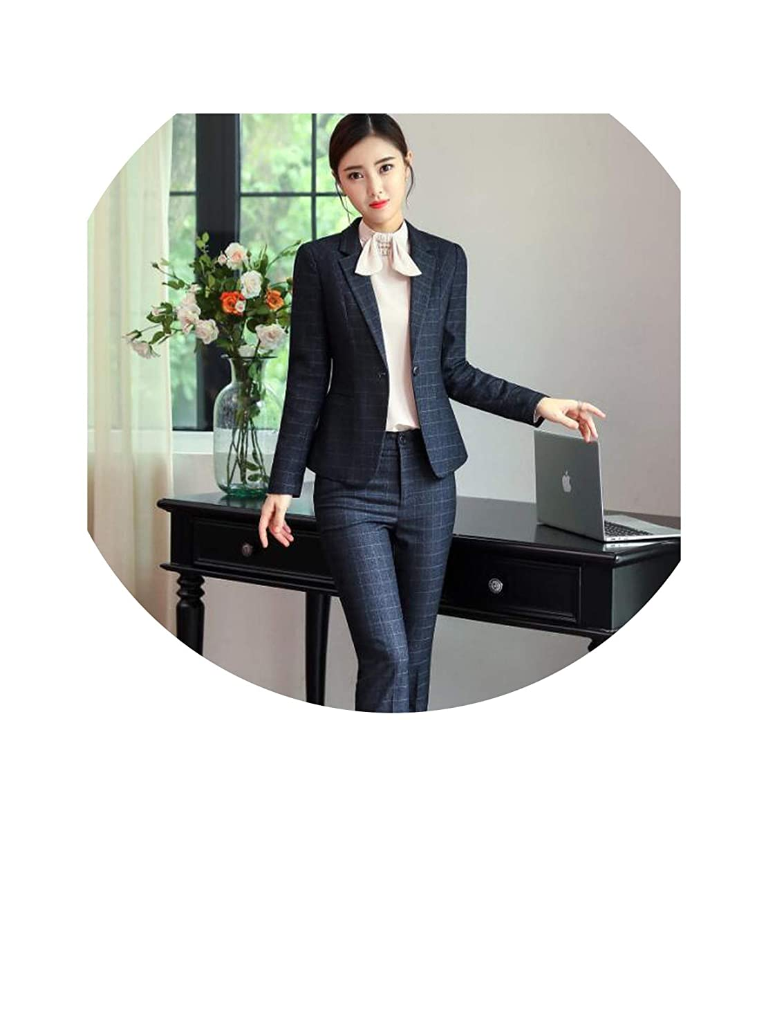New Plaid Pants Suit Women Blazer and Pant Work wear