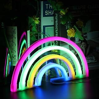 Wovatech Luces de letreros de neón arcoíris - Lámpara de neón LED arcoíris con batería o operada por USB - Luz de pared de arco iris Luces nocturnas para dormitorio de niños