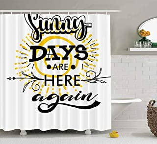 Cortina de ducha, linda cortina de ducha Baby Sunny Days are here Again Tarjeta de frase Arte tipográfico Caligrafía moder...