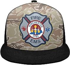 Mesh Breathable Hip Hop Cap Custom Firefighter Emblem,Fire Rescue,Fire EMS Campaign Adjustable Snapback Hat Trucker Hats