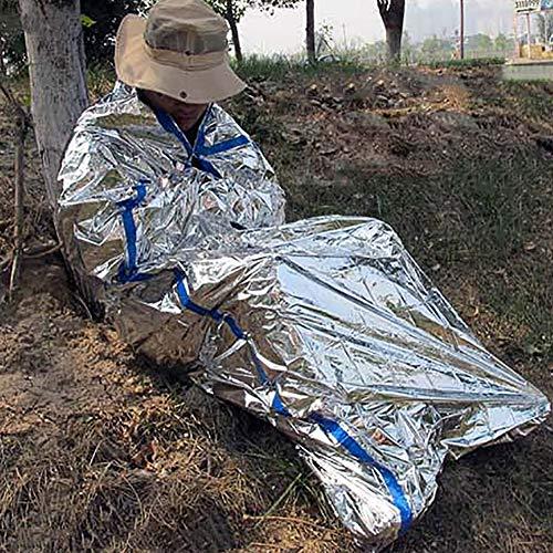 Enticerowts Couverture thermique imperméable d'urgence pour la survie, le camping, le sauvetage et les premiers secours Convient à tous les types de terrains complexes, Argenté.