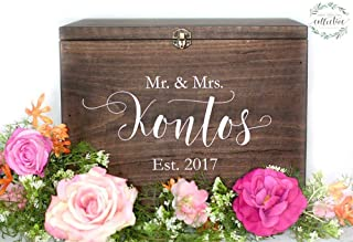 Wooden card box, Wedding Card Box, with Lock and Key | Personalize with your names and date