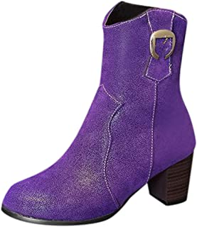 JJHAEVDY Women's Block Heel Ankle Boots Stacked Heel Western Boots Round Toe Biker Boots with Zipper Spring Chukka Boot
