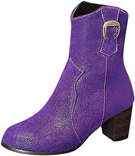 Yowablo Bottes Femmes Chaussures Mode Bare Escarpins À Talon Épais Bottes De Mode Chaussures Pointues