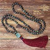 yuetong vintage collana 8mm pietre naturali perline nappa collana donne larias yoga 108 mala collana gioielli regalo