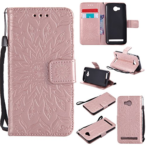Qiaogle Telefono Case - Custodia in Pelle PU Basamento Custodia Protettiva Cover per Huawei Y3II / Y3 2 (Two) 2016 (4.5 Pollici) - KT49 / Classic Embossed (Rose d'oro)