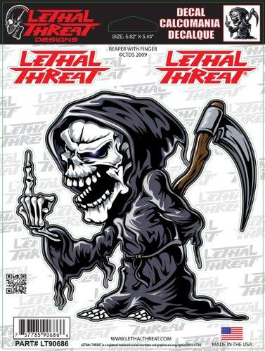 LETHAL THREAT Sticker. Hochwertige Aufkleber aus Vinyl fuer Motorrad, Roller, Helm, Auto, Boards etc LT90686