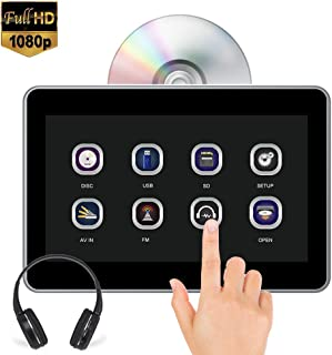AUTOWINGS 10.1'' Car Headrest DVD Player Touch Screen Video with IR Headphone, Support 1080P Video, Region Free, Sync Screen, USB SD FM Transmitter Wireless Game