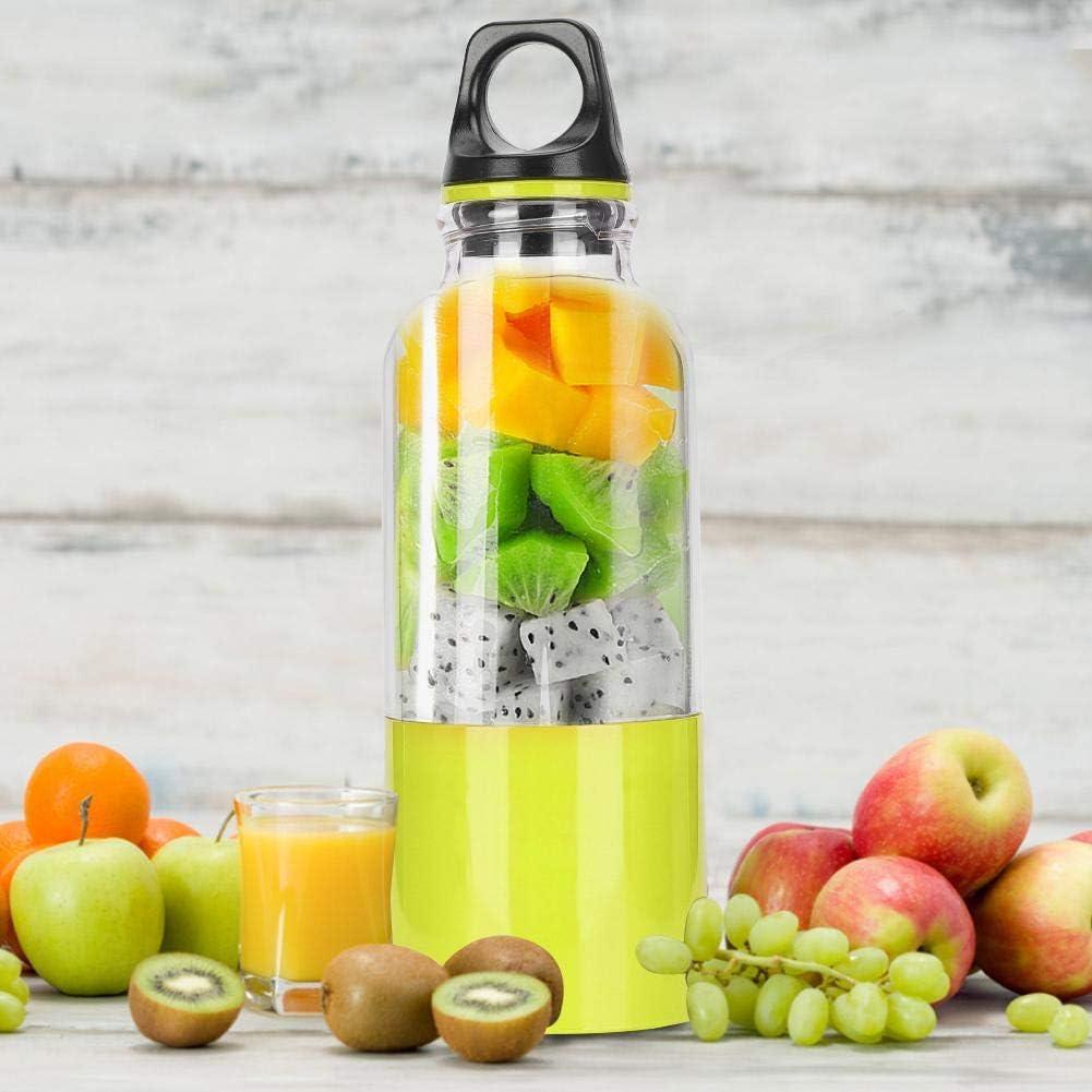 Taza exprimidora, taza exprimidora eléctrica Niunion 500ML, máquina portátil para hacer jugo de frutas, herramienta automática, batidora de batidos recargable(Pink) Fruta Verde