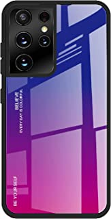 NEINEI Hoesje voor Samsung Galaxy S21 Ultra 5G Case,Transparant Ultradun Schokbestendig Silicagel Bumper Hoes,Verloop Kleu...