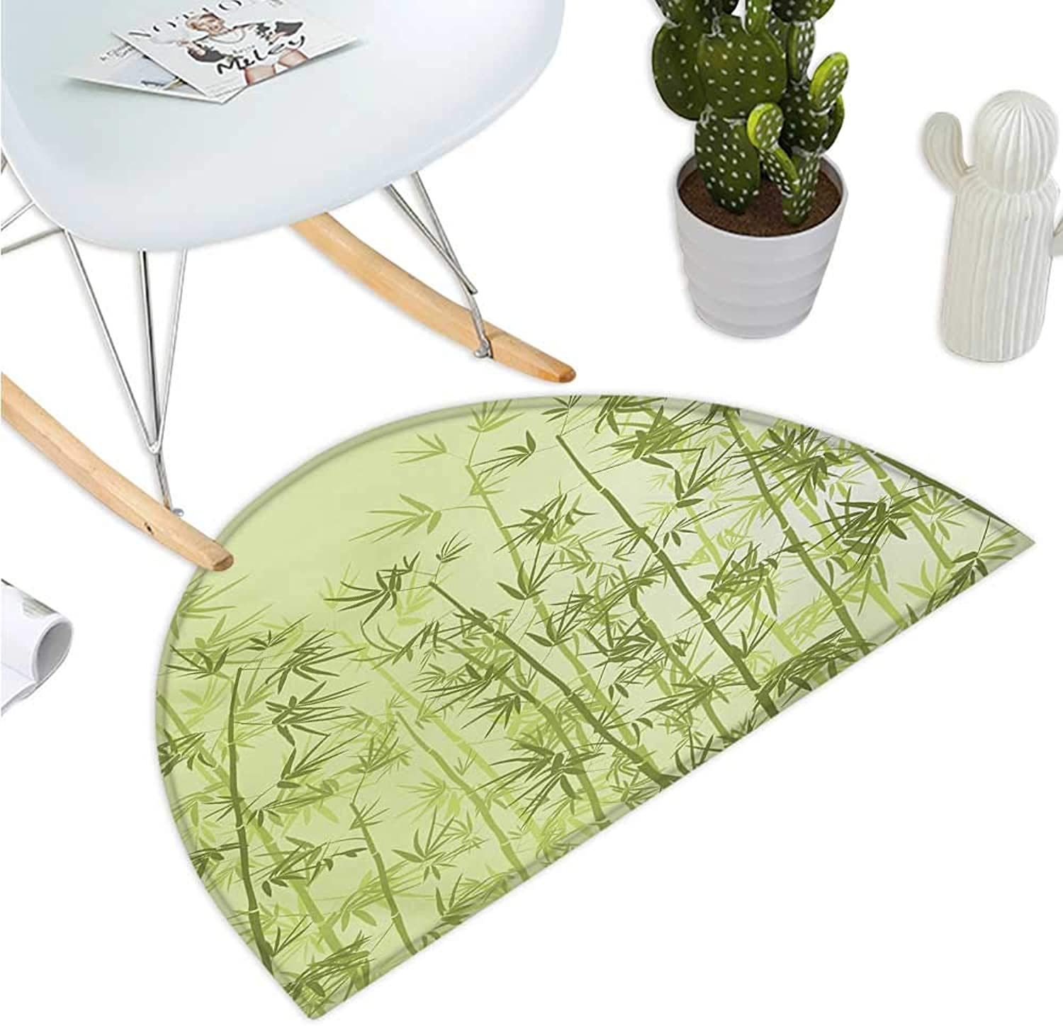 Forest Semicircular Cushion Tropical Style Woodland Spiritual Nature Spa Chakra Zen Yoga Concept Entry Door Mat H 47.2  xD 70.8  Pale Green Dark Green