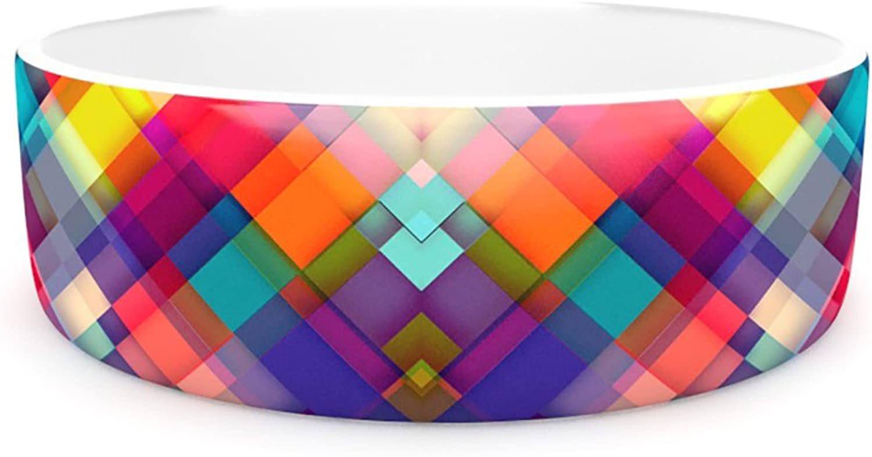 Kess InHouse Danny Ivan Squares Everywhere  Pet Bowl, 4.75Inch, Rainbow Shapes