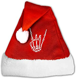 Santa Hat,Rock N Roll Skull Hand Classic Plush Christmas Santa Claus Cap Xmas Hat Ornament for Adult & Child