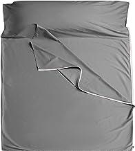 Cozysilk Sleeping Bag Liner - 100% Cotton Sleep Sacks Adults - Camping Sheets Hotel Travel Sheets with Full Length Tearawa...