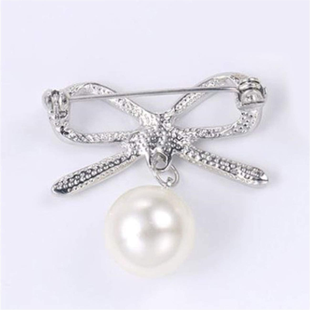 ZALING Women Bow Brooches Imitation Pearl Simple Bowknot Clip Pin Bow-Knot Brooch Pins Accessories for Banquet