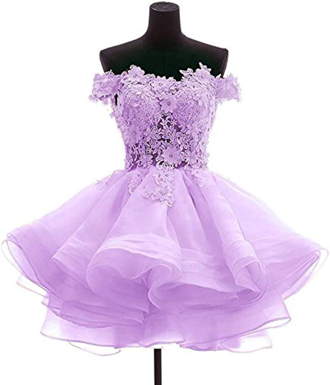 WHZZ Womens Short Prom Homecoming Dresses Off The Shoulder Organza Princess Wedding