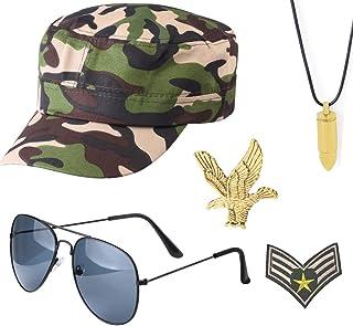 Yewong Disfraz de soldado militar de camuflaje para combate, juego de disfraces – gorras ajustables del ejército cadete co...