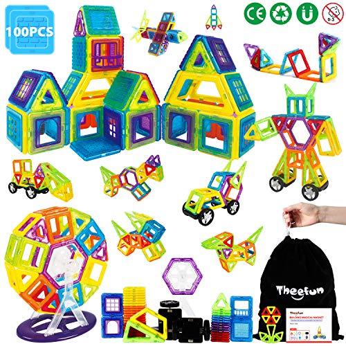 Theefun Blocchi Costruzioni Magnetiche Puzzle Blocchi Magnetici Serie da 100 Pezzi Ispirati alla Costruzione Standard Set Creativo e Ruota Panoramica Giocattolo Istruttivo, Regalo per i Bambini