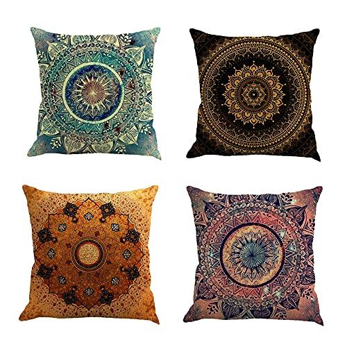 Lazz1on 4 Pack Federe Cuscino Decorative Divano Copricuscini in Lino per Divano Famiglia Soggiorno Camera da Letto 45x45 cm