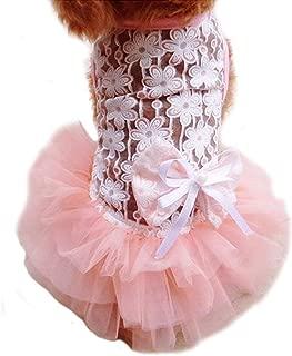 WORDERFUL Dog Wedding Dress Summer Dog Lace Wedding Dress Pet Cute Bubble Skirt Formal Dress for Puppy Small Dogs