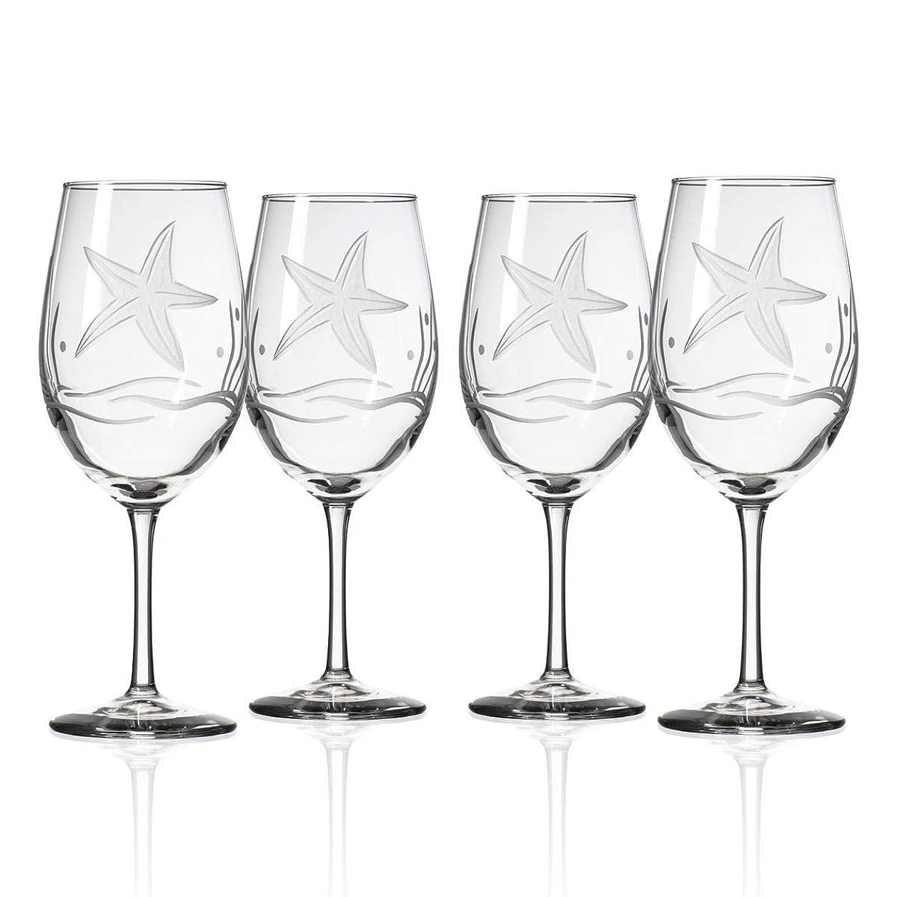とても多くの不健康秘書Rolf Glass 400426S/4 ヒトデ ホワイトワイングラス 12オンス クリア