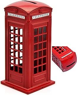 BeeSpring 1 X Original British English Metal Alloy Money Coin Spare Change Piggy London Street Red Telephone Booth Bank Souvenir Model Box Jar
