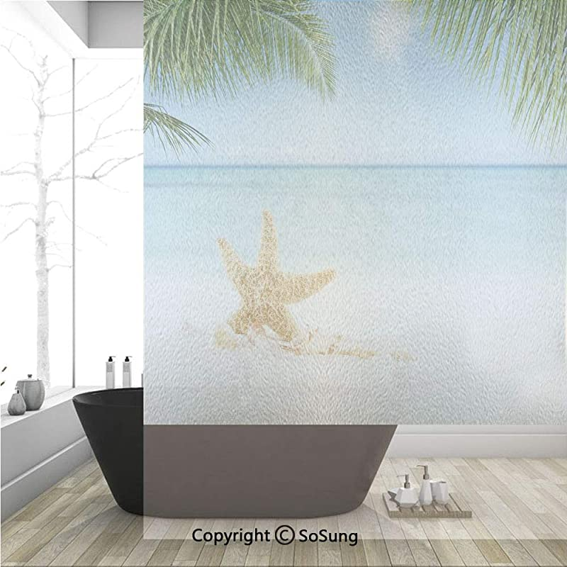 3D Decorative Privacy Window Films Graphic Of Summer Sandy Beach With Majestic Starfish On Tropical Hawaiian Beach Art No Glue Self Static Cling Glass Film For Home Bedroom Bathroom Kitchen Office 36x
