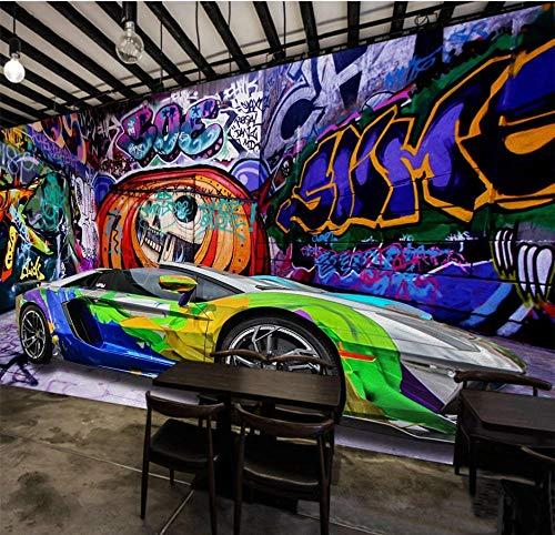 Tapete Fototapete 3D Effekt Graffiti Auto Graffiti Halloween Wandbild Wandtapete Hauptdekorationen Für Wohnzimmer Schlafzimmer - 200x140CM-XL