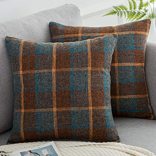WLNUI Set of 2 Scottish Tartan Plaid Pillow Covers 18x18 Inch Retro Buffalo Check Throw Pillow Covers Cotton Linen Square Cushion Case for Farmhouse Home Couch Sofa Decor
