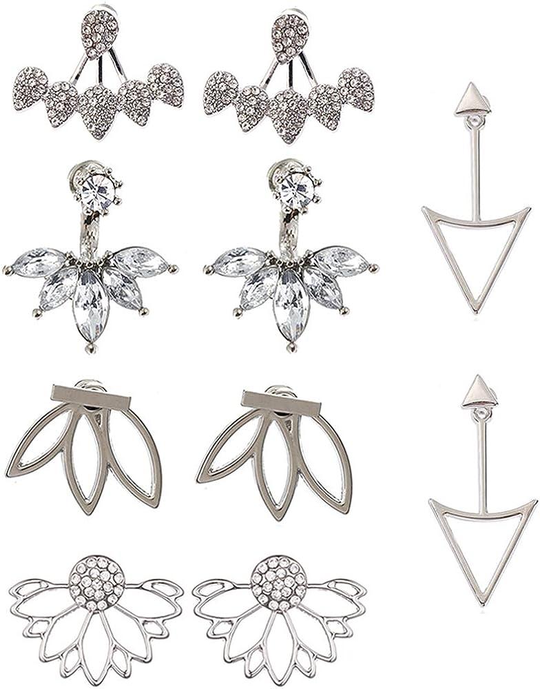 5 Pairs Fashion Hollow Lotus Flower Earrings Crystal Simple Chic Stud Earrings Set