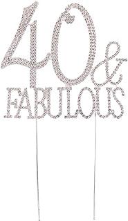 Baosity Sparkling 40 Fabulous Cake Topper 40th Rhinestone Alloy Cake Decorations