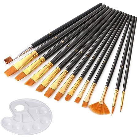 Pincel de Pintura de Nailon para el Cabello Estilo Variado Pluma Juego de Pinceles de Pintura Pincel de Pintura acr/ílica al /óleo Lorenlli Juego de Pinceles de Nailon Azul Perla de 10 Uds