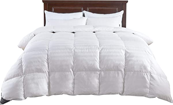 Puredown All Season Down Comforter Stripe White 100 Cotton Shell 500 Thread Count 800 Fill Power Cal King