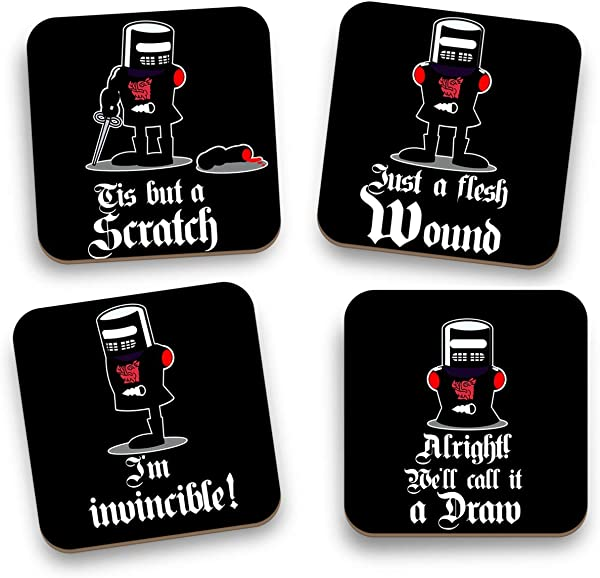 Funny Black Knight Holy Grail Monty Python 4 Coasters Tis Just A Scratch Great Housewarming Gift Christmas Gift SET OF 4