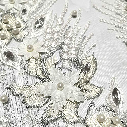 Lace Embroidered Pearl Rhinestone Patches Applique for DIY Fabric Trim Neckline Wedding Bridal Prom Dress Back Decoration (White, V-Neck)