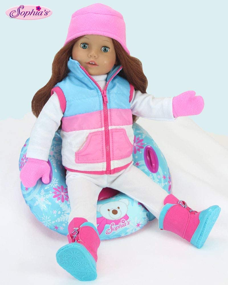 ag259 Fashionable scarf and headband in pink /& white Fleece for 18 inch Dolls
