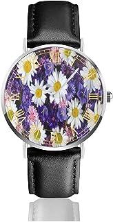 腕時計紫色の花の間の白いヒナギク。メンズ腕時計ファッションカジュアルビジネススポーツ高品質多機能クロノグラフレザーウォッチレザーストラップ防水クォーツウォッチ