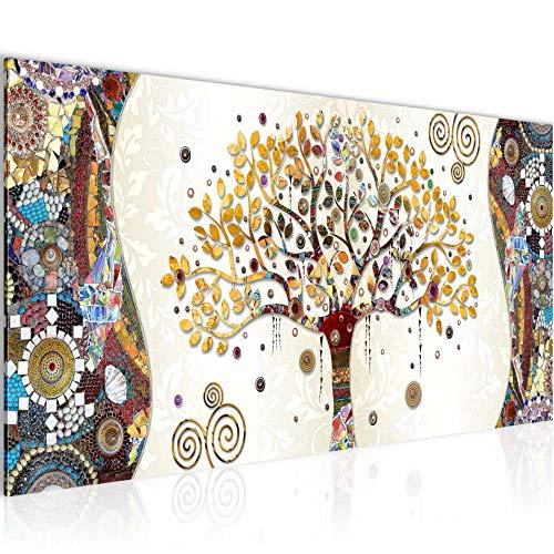 Wandbilder Gustav Klimt Baum des Lebens Modern Vlies Leinwand Wohnzimmer Flur Abstrakt Baum Bunt 004612a