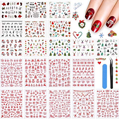 Above 1000 Pieces Christmas Nail Art Stickers 3D Christmas Self-Adhesive Nail Decal Snowflake Tree Reindeer Santa Nail Art Sticker with Tweezers and Nail File for Women Kids DIY Decoration, 20 Sheets