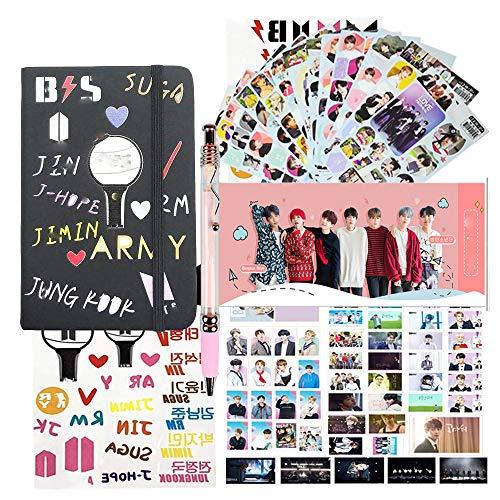 Fans Gifts Set for Bangtan - 1Pcs Cartoon PU Notebook | 54Pcs Lomo Card | 1Pcs Pen | 2Pcs Tatoo Stickers| 12 Sheet Stickers| 1Pcs 3D Stickers