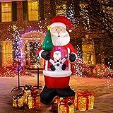 CCLIFE Muñeco de nieve con luz LED autocortante e iluminación inflable para exteriores...