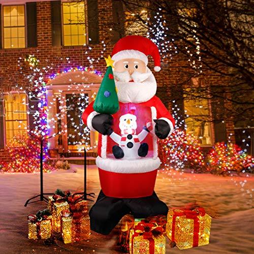 CCLIFE Inflatable Santa Claus LED,Outdoor Christmas Snowman light up Christmas Lighting Christmas Decoration Waterproof Snowing Man-240cm