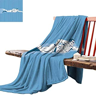 """Bill Lloyd Black Throw Blanket Olympics Decorations Collection,Swimming Freestyle Water Sports Olympic Challenging Competitive Game Image,Blue White for Kid Baby Adults or Pet 50""""x70"""""""