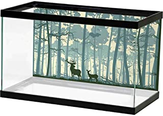 bybyhome Rock Background Aquarium Deer,Animal Silhouette in Foggy Forest Animals in Nature Themed Cartoon Dusk Artwork,Black White Grey Landscape Image Fish