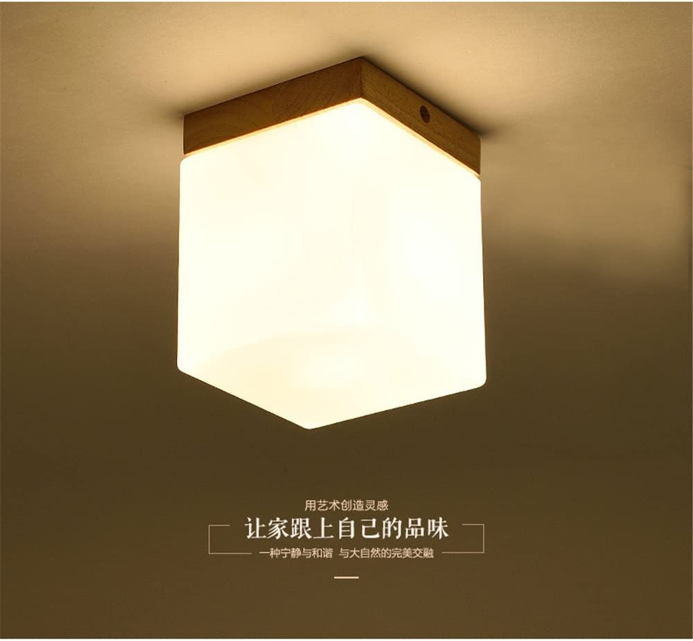 BRIGHTLLT Luz de techo LED moderno minimalista dormitorio madera maciza farolas pasarelas balcón corredor Hyun luces apagadas japonés,lámpara de 120mm